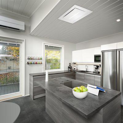 Savo R-97 liesituuletin asennettuna kattoon keittiossa.